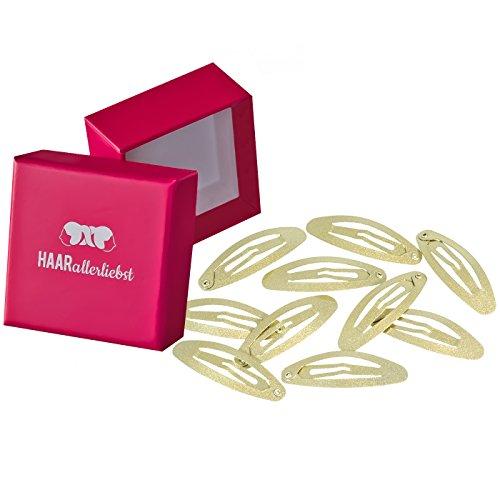 10 Haarspangen Haarclips gold schimmernd 4,8cm in pinker Box von HAARallerliebst