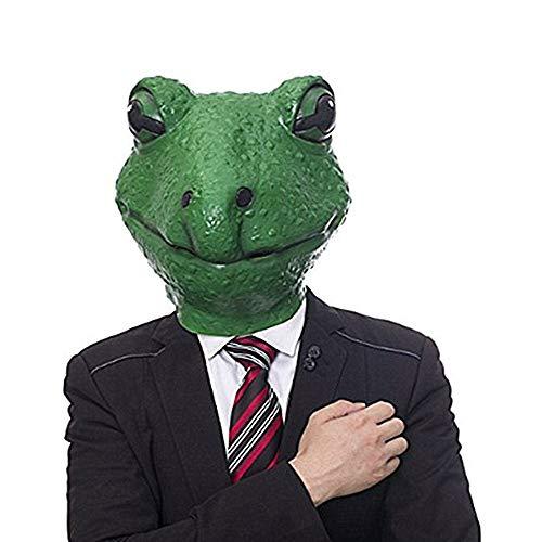 OYWNF Mode niedlichen grünen Latex Froschkopf Form Maske Halloween Ball Party Animal Kostüm Requisiten Masken (Color : Frog, Size : One Size)