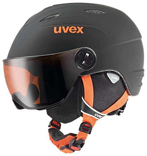 Uvex Kinder junior visor pro Skihelm, Black-Orange Mat, 46-52 cm (Orange Jungen Ski Helm)