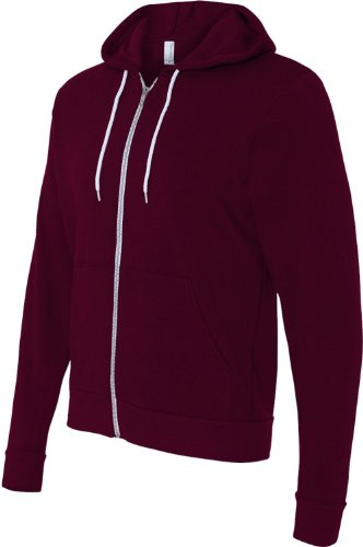 Bella+Canvas: Unisex Poly-Cotton Full Zip Hoodie 3739 rot - Maroon