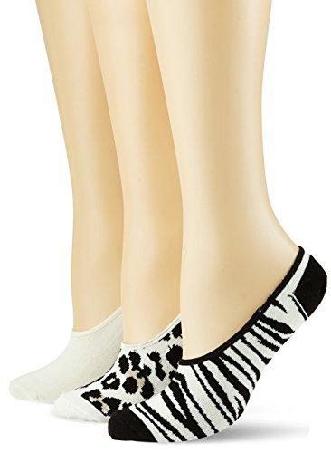 Happy Socks Limer Leopard/Zebra, Socquettes Homme, Blanc (1000), 41-46 (lot de 3) Happy Socks