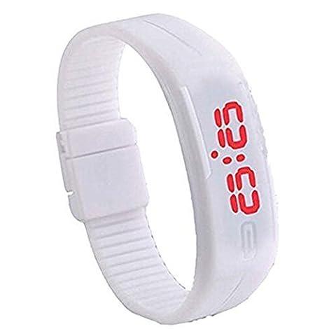 Padgene Montre Bracelet LED Numérique Silicone Sport Montre Rubber Date Femmes Hommes Unisexe, Blanc