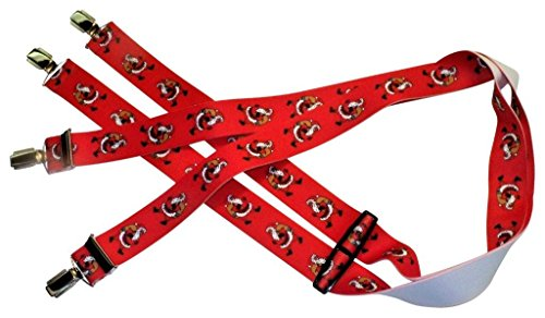 Teichmann Weihnachts-Hosenträger | Weihnachtsmann auf Rot | Damen und Herren | One Size 120 cm | Anzug-Hosenträger | Arbeitskleidung-Hosenträger