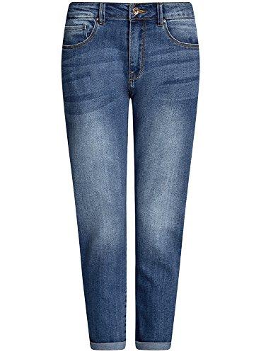 oodji Ultra Damen Boyfriend-Jeans mit Regulärem Bund Blau (7500W)