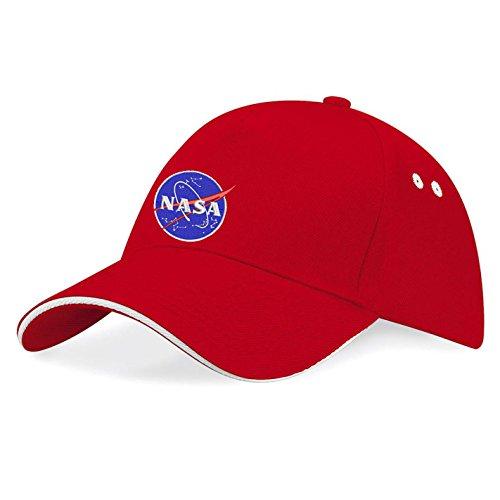 NASA Astronaut Apollo Bestickte Baseball Cap Mütze -k40 (Rot)