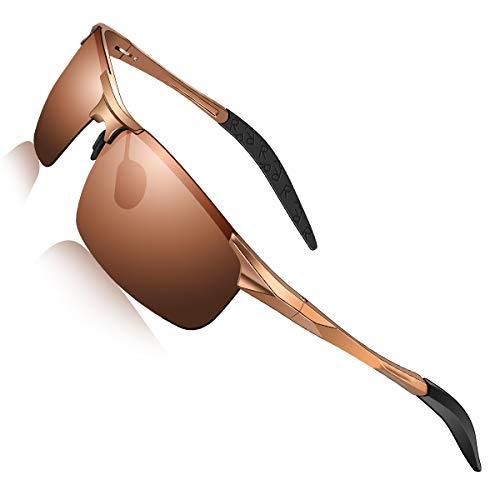 DADA-PRO Sonnenbrille Herren Sportbrille Damen Polarisiert Verspiegelt Retro Fahren Fahrerbrille UV400 Schutz für Autofahren Reisen Golf Party und Freizeit (Braun/Nicht Vespiegelte Linse)