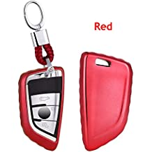 Custodia di alta qualità in plastica morbida auto chiave/supporto–Accessori universali, chiave della vettura di porta telecomando Fob con portachiavi per BMW serie 52018New X5X6X11Series/2Series Coach New 7series, Red, L=8cm W=4cm Thickness=1.7cm