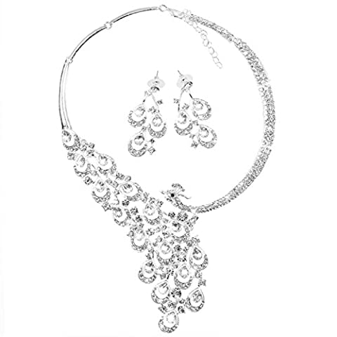 OFTEN Fashion Womens Peacock Rhinestone Crystal Necklace Earring Set Bridal Wedding Evening Party Costume Accessory