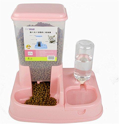 Automatischer Futterspender für Tiere Tier Hund Katze Trinken-Wasser Stromversorgung Tränke Flasche rosa Wasser 400ml Nahrung 1.5kg -