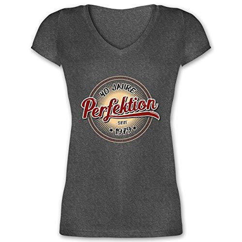 1979 Tour T-shirt (Geburtstag - 40 Jahre Perfektion seit 1979 - S - Anthrazit meliert - XO1525 - Damen T-Shirt mit V-Ausschnitt)