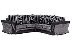 FARROW Chenille Fabric Corner Sofa, 2+3 Seater, Swivel Chair in Black & Grey (Corner Sofa)