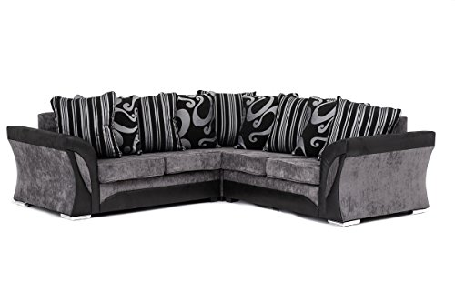 FARROW Chenille Fabric Corner Sofa, 2+3 Seater, Swivel Chair in Black & Grey (Corner Sofa)