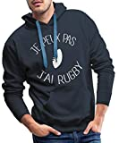 Je Peux Pas J'Ai Rugby Sweat-Shirt à Capuche Premium pour Hommes, XXL, Marine