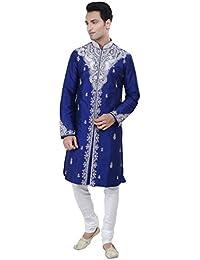 Ethnic Indian Design Royal Blue Kurta Sherwani for Men 2pc Suit