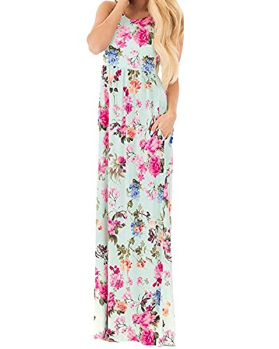 Auxo Damen Ärmellos Kleider Blumen Lange Kleid Sommer Lose Party Dress Strandkleid