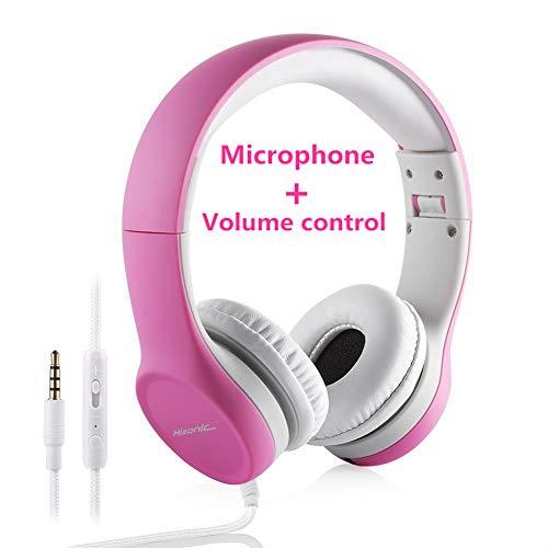 Hisonic Kopfhörer für Kinder, Leicht kopfhörer Kinder Kopfhörer mit Laustärkebegrenzung auch Mikrofon Verstellbare Kinder Erwachsene Headset für Jungen und mädchen ab 3 Jahre (Rosa)