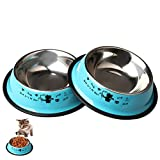 Zhiye Stainless Steel Pet Bowls for Cats,2 Piece Non-slip Dog Feeding Bowl with Cute Cats Pattern Painted Small Dogs Cats