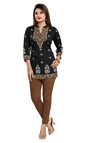 Color Petal Printed Crepe Short Black Kurti / Tunic / Top for...