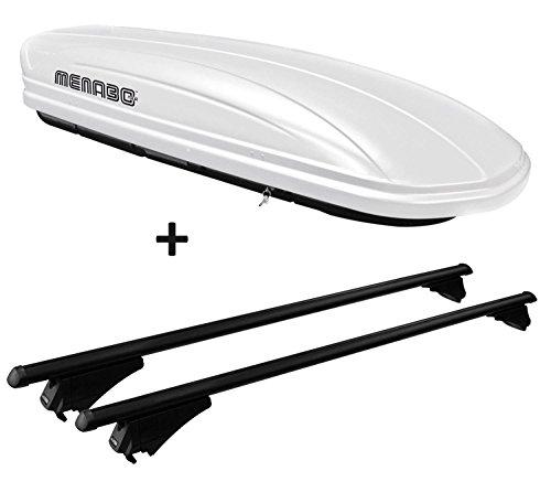 VDP Dachbox weiß MAA 460W Auto Dachkoffer 460 Liter abschließbar + Alu-Relingträger schwarz Dachgepäckträger für aufliegende Reling im Set für Seat Altea XL ab 2009