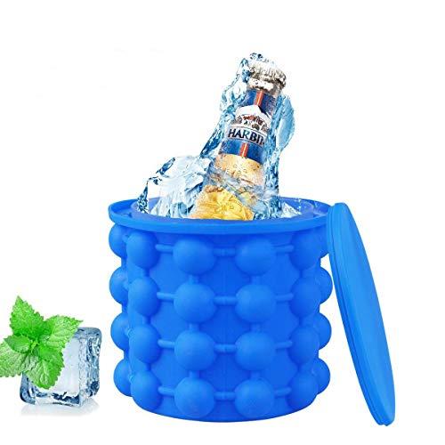 Aitsite Ice Genie, 2 in 1 Eisbehälter Funktion Silikon Eiswürfelbereiter Eiswürfelformen Eiseimer mit Deckel für Whiskey, Cocktail und Jedes Getränk