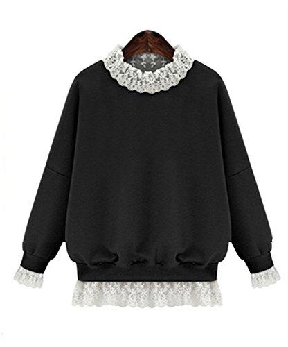 Damen Neu Winter loose langärmeligen Sweatshirts mit Spitzenkante (Pioneer Muster Kleid)