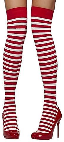 Smiffys Femme, Bas autofixants opaques, à rayures, Taille unique , Couleur: Rouge & blanc, 42768
