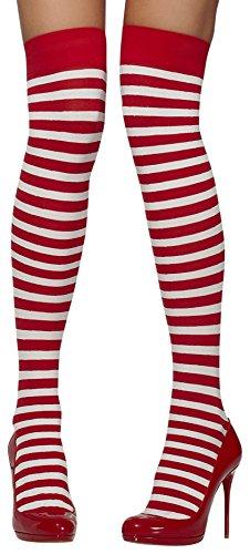 Smiffys Fever Damen Blickdichte Halterlose Strümpfe, Gestreift, One Size, Rot und Weiß, 42768 (Undurchsichtige Nylon Strümpfe)