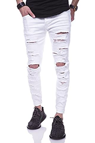 Behype Jeans Destroyed Slim-Fit Hose 80-2094 Weiß 32/32