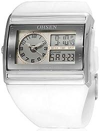 Alienwork Ohsen Reloj Digital- Analógico Multi-función LCD Retroiluminación Outdoor Poliuretano blanco blanco OS.AD0518-2