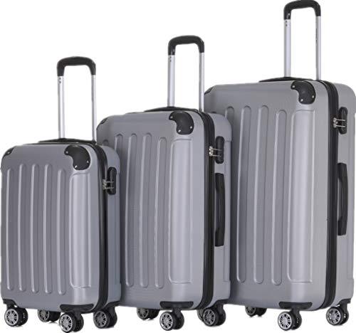 BEIBYE Hartschalen-Koffer Trolley Rollkoffer Reisekoffer Handgepäck 4 Rollen (M-L-XL-Set) (Silber, Set)