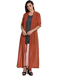 The Silhouette Store Orange Solid Maxi Shrug with Roll-up Sleeves