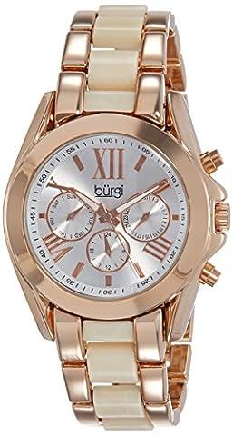 Burgi - Femme - Swiss - Quartz Affichage - Analogique - Cadran Blanc - Or Rose - Bracelet Alliage