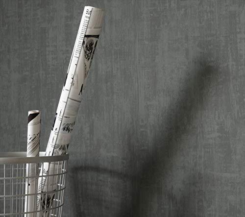 NEWROOM Tapete grafisch anthrazit Unifarbe Uni Vliestapete Vlies Tapete Einfarbig Unifarben Bauhaus...