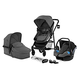 Kinderkraft Pram JULI 3 in 1 Set Folded Travel System with Infant Car Seat Carrycot Pushchair | Accessories Rain and Foot Cover Cup Holder from Birth to 3 Years (0-13kg) Gray   6