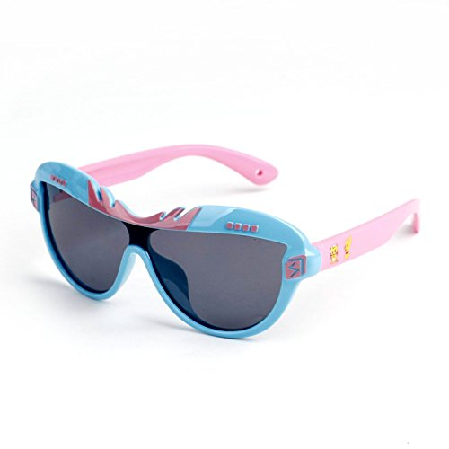 ERTMJ Kinder Runde Sonnenbrille Kinder Sonnenbrillen Baby Polarisierte Uv-Schutz Sonnenbrillen Cartoon Weiche Jungen Und Mädchen Sonnenbrillen Kinder Brille Blauen Rahmen Pulver Füße