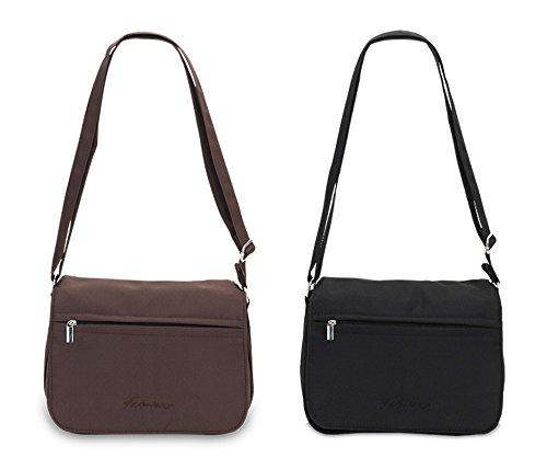 Microfaser schwarz Handtasche Schultergurt Schultertasche mit Damen braun verstellbarem Umhängetasche Reißverschluss q6wxv