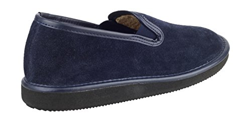 Mirak Mens Barton Slip-On Suede Lined Loafer Style Slipper Navy Bleu - Bleu marine