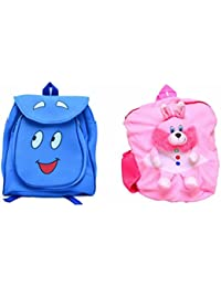 Pratham Enterprises Combo Of Blue Smile Bag And Light Pink Rabbit Soft Toy Bag ( Pack Of 2 )
