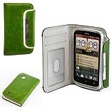 Original Numia Design Luxus Bookstyle Handy Tasche HTC Desire X Grün Weiss Handy Flip Style Case Cover Gehäuse Etui Bag Schutz Hülle NEU