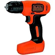 Black+Decker BDCD8-QW - Taladro atornillador sin cable, batería 1.5 Ah, 7.2 V, color negro y naranja