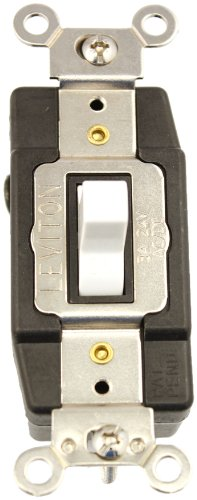 Leviton 1081-W 3 Amp, 24 Volt AC/DC, Toggle Double Throw, Center Off, Momentary Contact, Single Pole, AC Quiet Switch, Industrial Grade, Grounding, White by Leviton -