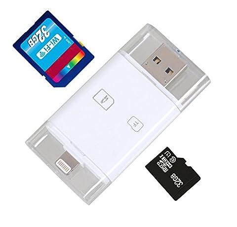 Gilsey 3in1 Card Reader [8Pin & MicroUSB zu SD & MicroSD] für iPhone iPad iPod mit 8 Pin Anschluss sowie MicroUSB Anschluss - Kartenleser für iPhone iPad und Android Geräte mit MicroUSB - kopieren oder bewegen Sie Bilder, Videos, PDFs von der Speicherkarte zum iPhone iPad oder