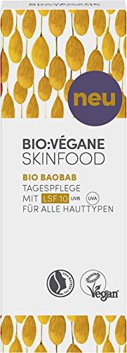BIO:VÉGANE SKINFOOD Bio Baobab Tagespflege mit LSF10 für alle Hauttypen, vegan, NATRUE-zertifiziert, Naturkosmetik mit mineralischen Lichtschutzfiltern, 50 ml -