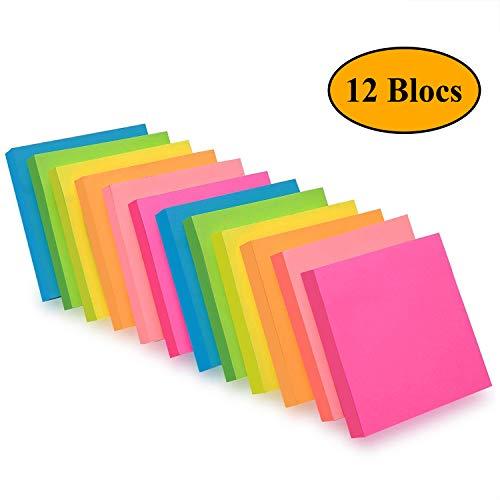 ZCZN Notes Sticky Notes de 6 couleurs vive, 76 X 76 mm Lot de 12 blocs/100 feuilles/Pad, Sticky problème est plus 12 Pack - Note Autocollante 1200 Feuilles