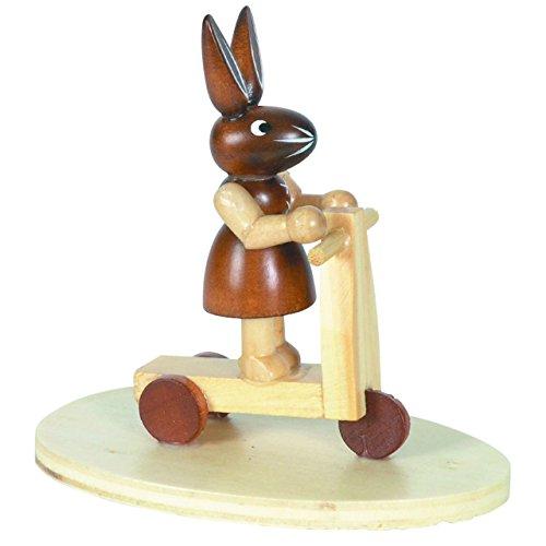 Osterhasen Häsin auf Kinderroller, H: 9 cm aus Holz im Erzgebirge Stil, Osterdeko, Osterfigur