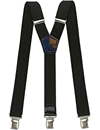 Tirantes Hombre Elásticos Ancho 40 mm con clips extra fuerte totalmente adjustable todos los colores