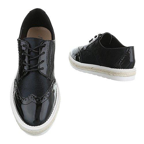 Ital-Design , Chaussures à lacets femme Schwarz FC-E37