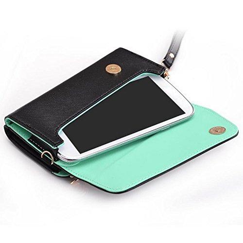 Kroo d'embrayage portefeuille avec dragonne et sangle bandoulière pour Vodafone Smart 4Turbo/Prime 6 Multicolore - Noir/rouge Multicolore - Black and Green