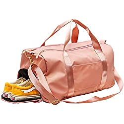 C100AE Bolsa Deporte y Viaje para Mujer y Hombre, Bolsa de Viaje Bolsa de Gimnasio con Compartimento para Zapatos y Ropa Mojada, Multiuso como Mochila Plegable, Bolsa de Hombro Weekend Bag (Rosa)