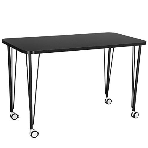 SONGMICS Mobiler Schreibtisch Computertisch Bürotisch mit Rollen PC Tisch 119,5 x 75 x 60 cm (B x H x T) Mattschwarz LWD15BK